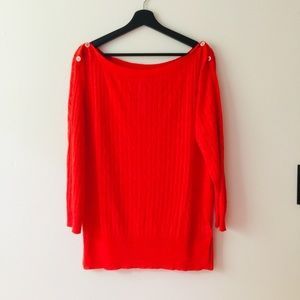 J.Crew | Red Linen Cable Knit Sweater